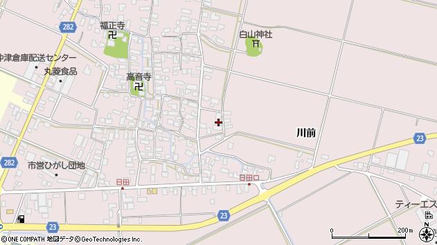 山形県寒河江市日田楯越周辺の地図