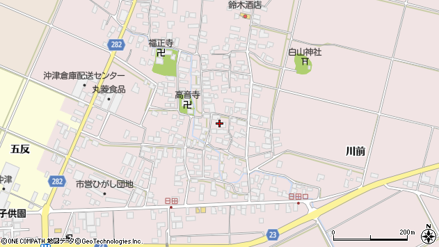 山形県寒河江市日田392周辺の地図