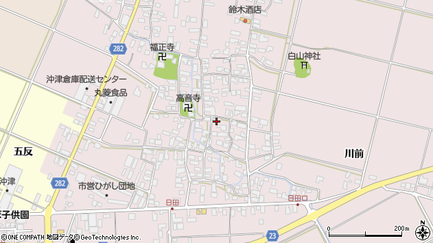 山形県寒河江市日田390周辺の地図