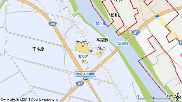 山形県寒河江市中郷周辺の地図