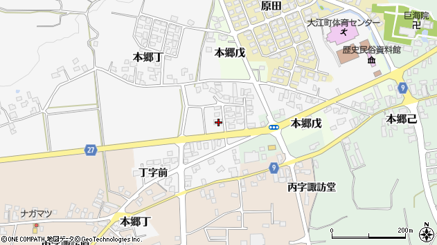 山形県西村山郡大江町本郷丁181周辺の地図