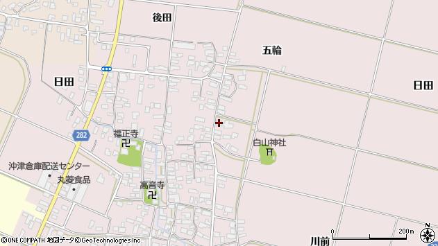 山形県寒河江市日田楯越175周辺の地図