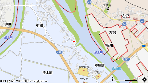 山形県寒河江市中郷1963周辺の地図
