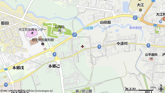 山形県西村山郡大江町本郷己1周辺の地図