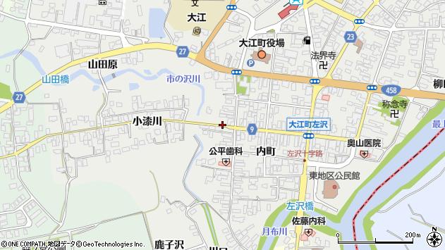 山形県西村山郡大江町左沢内町周辺の地図