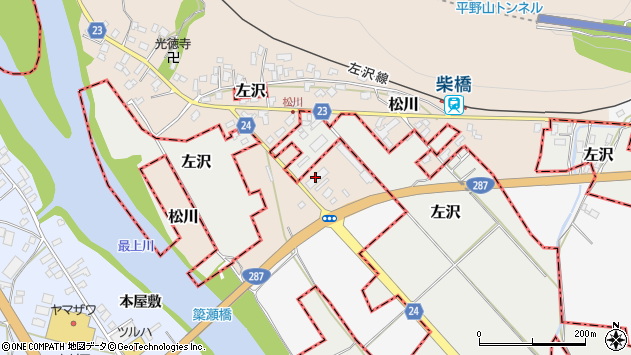 山形県寒河江市松川前田周辺の地図