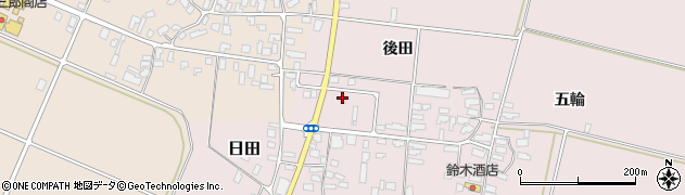 山形県寒河江市日田後田72周辺の地図