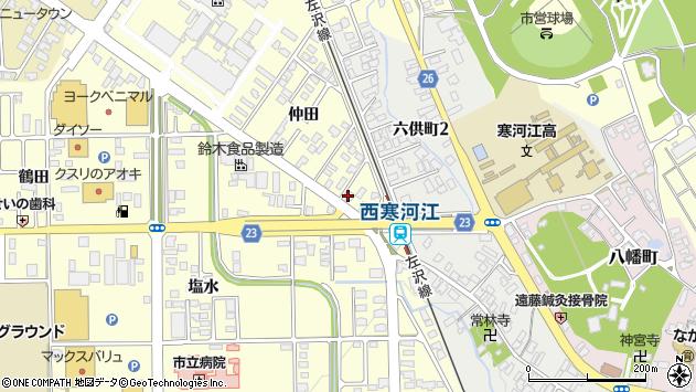 山形県寒河江市寒河江仲田34周辺の地図