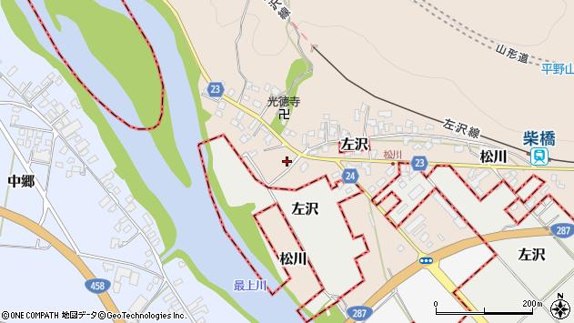 山形県寒河江市松川雨池周辺の地図