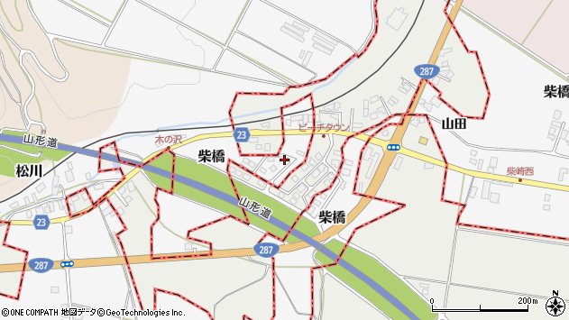 山形県寒河江市柴橋1456周辺の地図