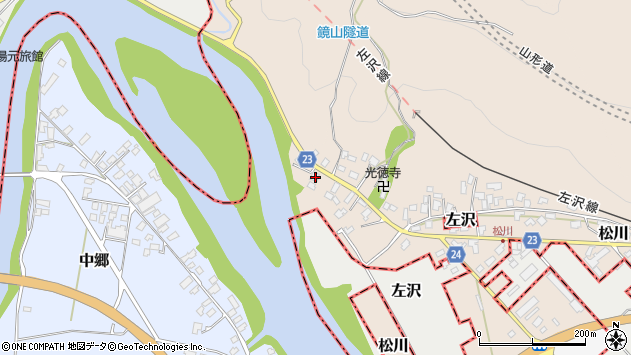 山形県寒河江市松川9周辺の地図
