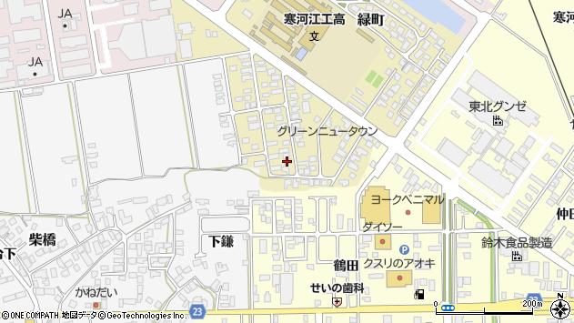 山形県寒河江市緑町80周辺の地図