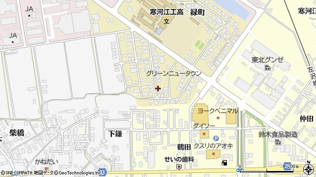 山形県寒河江市緑町94周辺の地図