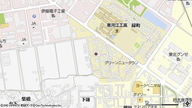 山形県寒河江市緑町44周辺の地図