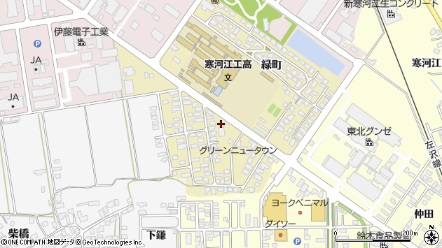 山形県寒河江市緑町106周辺の地図
