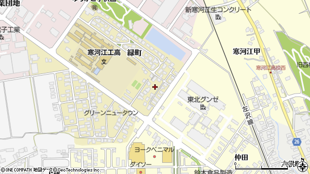 山形県寒河江市緑町176周辺の地図