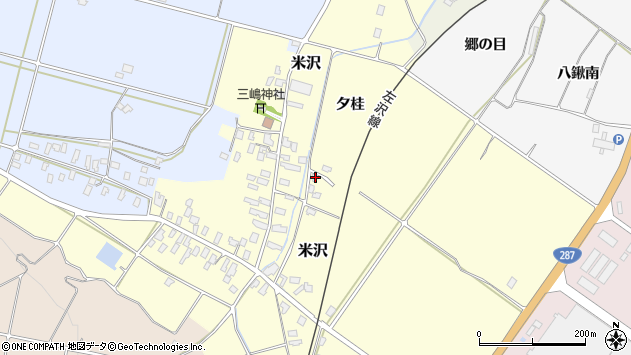 山形県寒河江市米沢夕桂周辺の地図