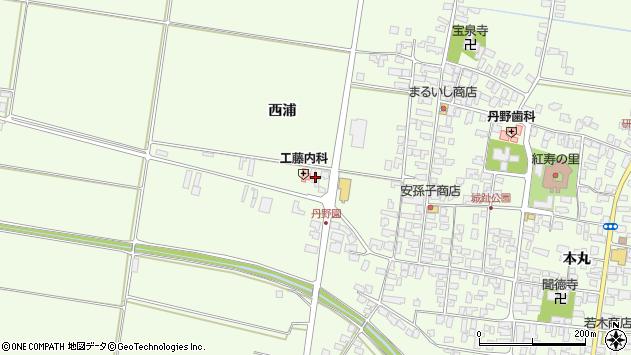 山形県西村山郡河北町溝延西浦周辺の地図
