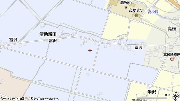 山形県寒河江市清助新田冨沢周辺の地図