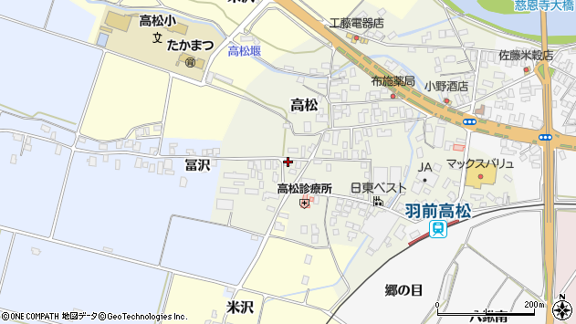 山形県寒河江市高松44周辺の地図