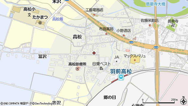 山形県寒河江市高松93周辺の地図