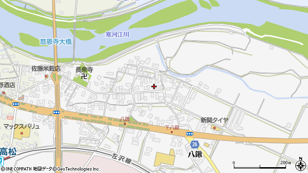 山形県寒河江市八鍬48周辺の地図
