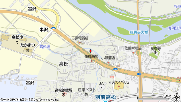 山形県寒河江市高松175周辺の地図