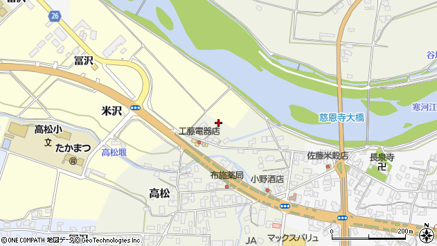 山形県寒河江市高松148周辺の地図