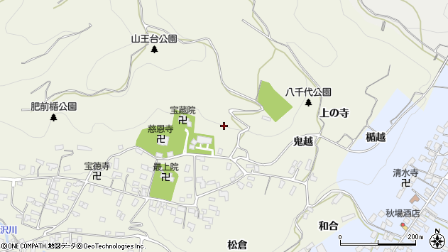 山形県寒河江市慈恩寺鬼越周辺の地図