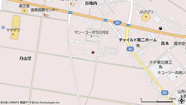 山形県西村山郡河北町谷地月山堂539周辺の地図