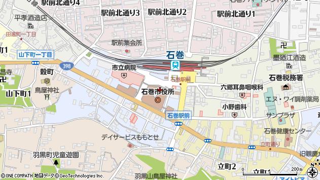宮城県石巻市周辺の地図