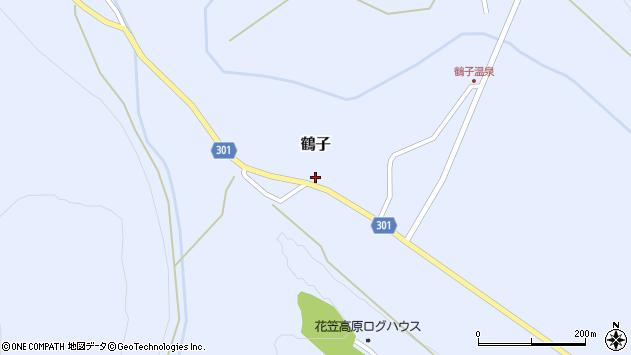 山形県尾花沢市鶴子886周辺の地図