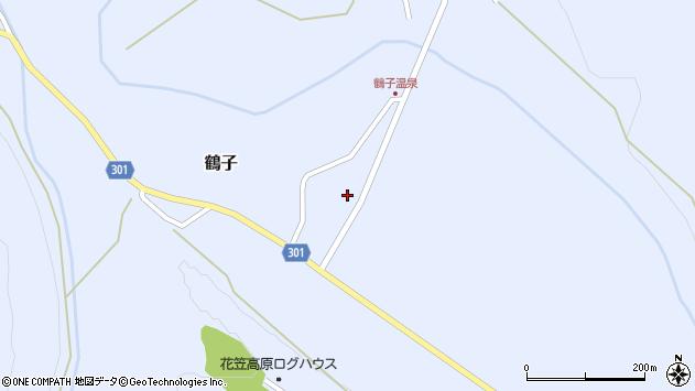 山形県尾花沢市鶴子890周辺の地図