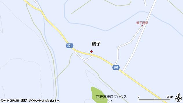 山形県尾花沢市鶴子887周辺の地図