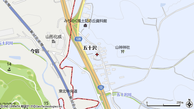 山形県尾花沢市五十沢98周辺の地図