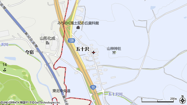 山形県尾花沢市五十沢154周辺の地図