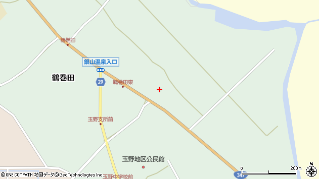 山形県尾花沢市鶴巻田305周辺の地図