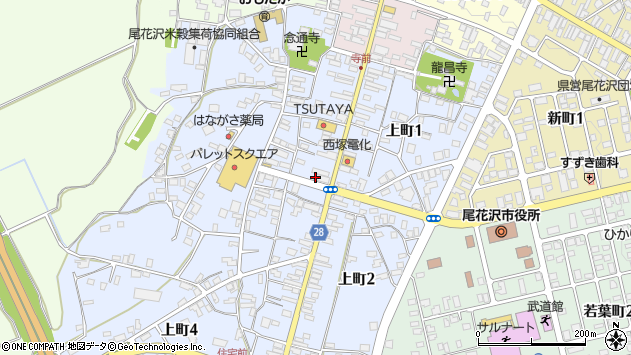 山形県尾花沢市上町周辺の地図