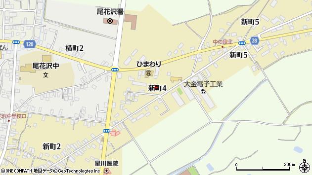 山形県尾花沢市新町4丁目周辺の地図
