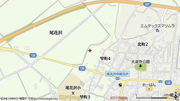 山形県尾花沢市尾花沢大道寺周辺の地図