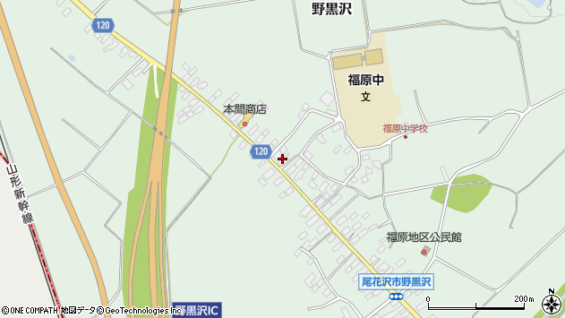 山形県尾花沢市野黒沢204周辺の地図