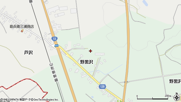 山形県尾花沢市野黒沢532周辺の地図