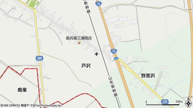 山形県尾花沢市芦沢4周辺の地図