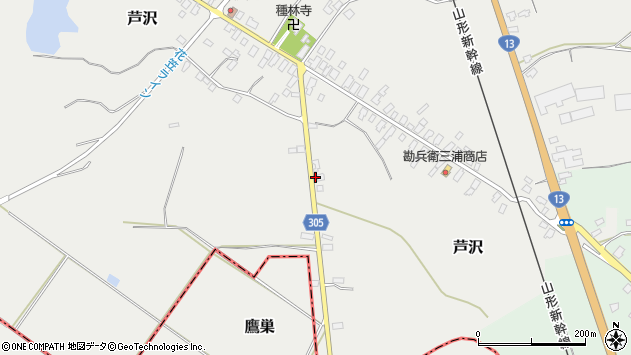 山形県尾花沢市芦沢114周辺の地図