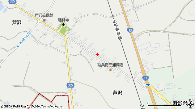 山形県尾花沢市芦沢47周辺の地図