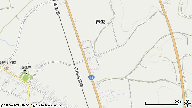 山形県尾花沢市芦沢1111周辺の地図