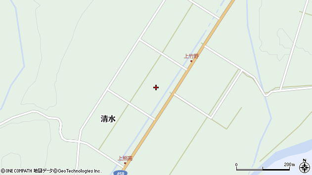 山形県最上郡大蔵村清水上竹野周辺の地図