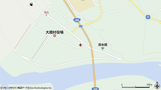 山形県最上郡大蔵村清水2558周辺の地図
