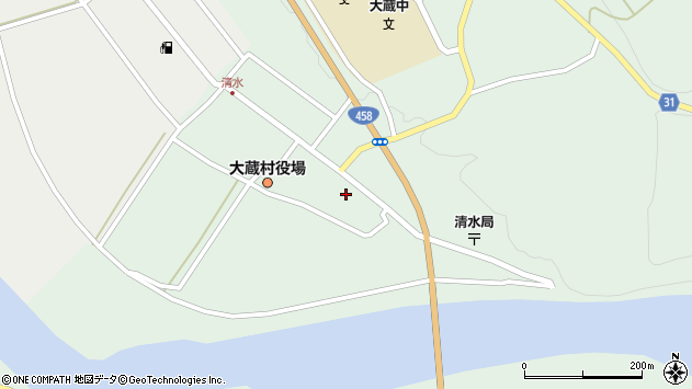 山形県最上郡大蔵村清水2552周辺の地図