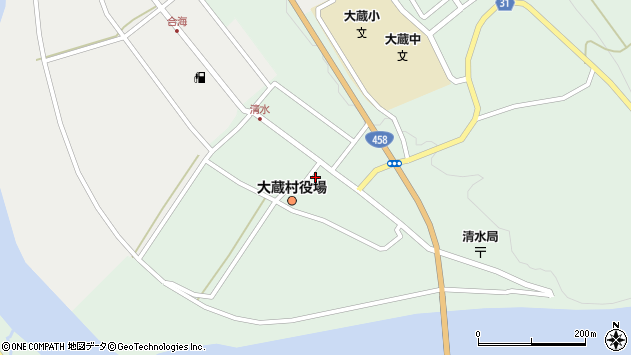 山形県最上郡大蔵村清水2534周辺の地図